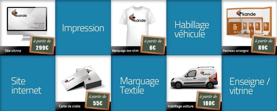 Les Categories ESPACE2COM Site Internet Impression De Document Marquage Textile Habillage Vehicule